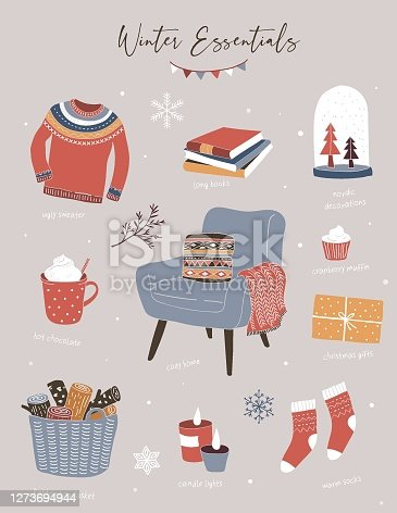 istock Nordic, Scandinavian winter elements and Hygge concept design, Merry Christmas card, banner, background, hand drawn vector illustrations 1273694944
