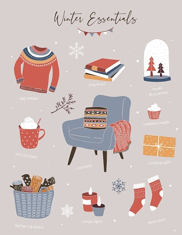 Nordic, Scandinavian winter elements and Hygge concept design, Merry Christmas card, banner, background, hand drawn vector illustrations