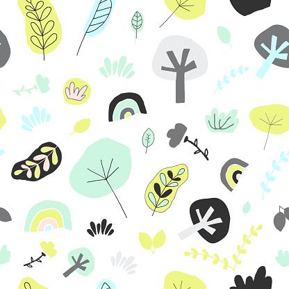 Nordic seamless pattern. Leaf, tree, rainbow, gras