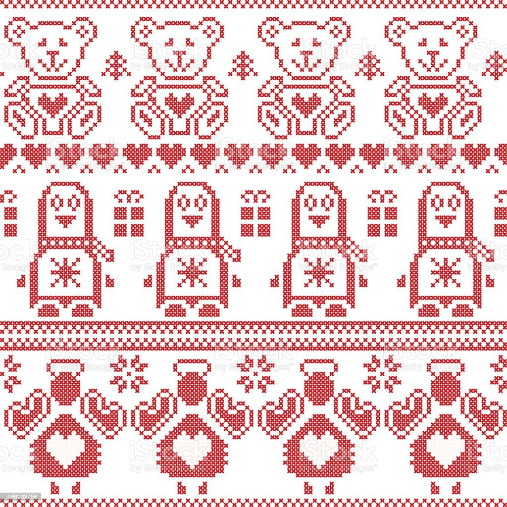Nordic seamless pattern with penguin, angel, teddy bear in red ilustração de nordic seamless pattern with penguin angel teddy bear in red e mais banco de imagens de anjo royalty-free