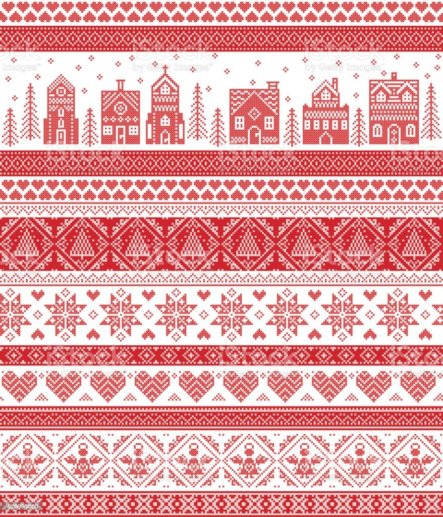 Nordic style and inspired by Scandinavian cross stitch craft merry Christmas pattern in red and white including  winter wonderland village, church, Christmas trees, stars , snowflakes, angel, heart vector art illustration
