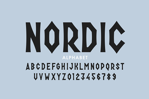 Nordic style font design, alphabet letters and numbers