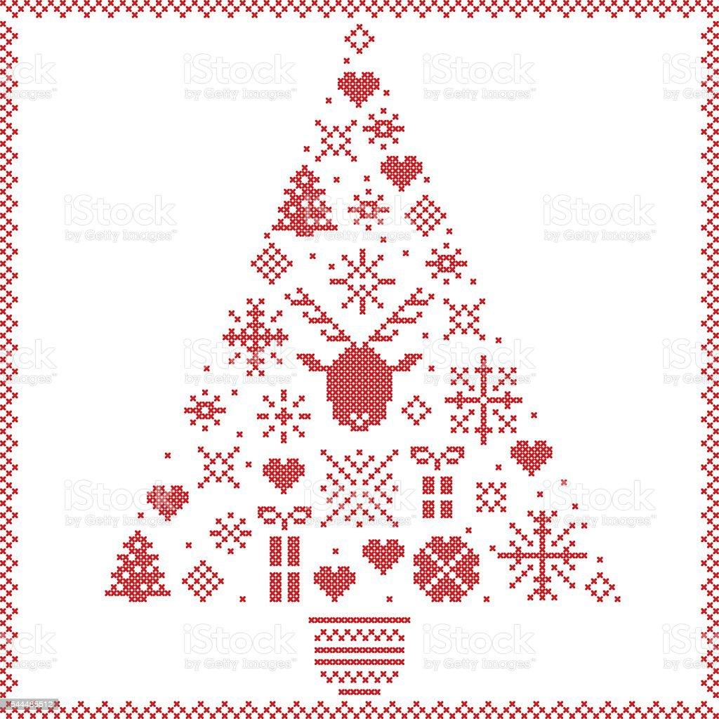 Ilustración de Estilo Nórdico Fino árbol De Navidadsobre Un Fondo ...