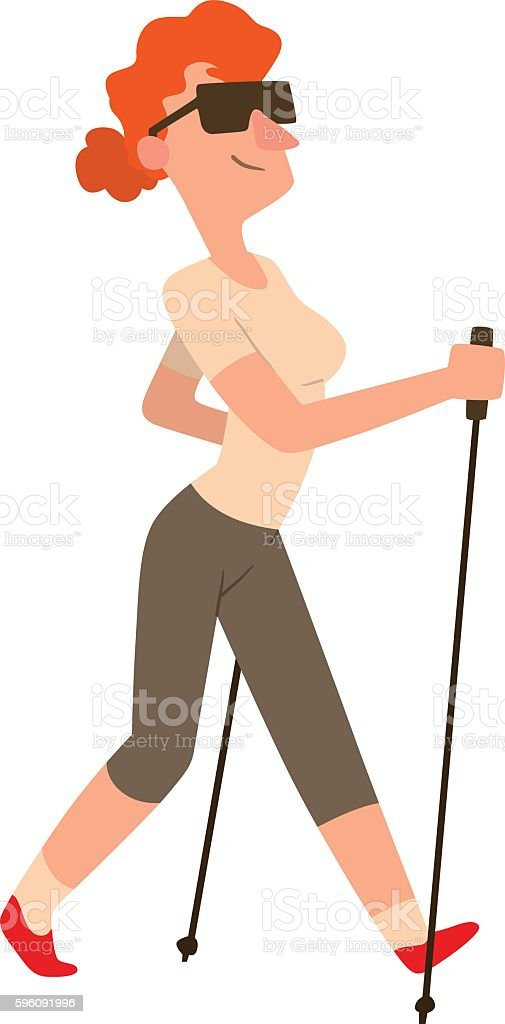 Nordic walking sport vector character royalty-free nordic walking sport vector character stock vector art & more images of activity