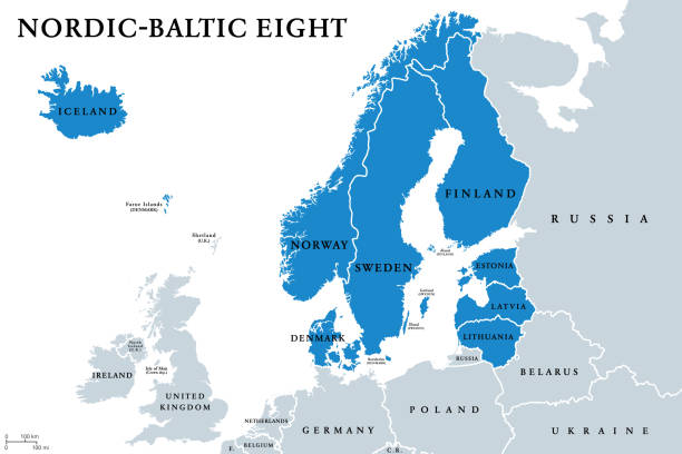 Nordic-Baltic Eight (NB8) member states political map vector art illustration
