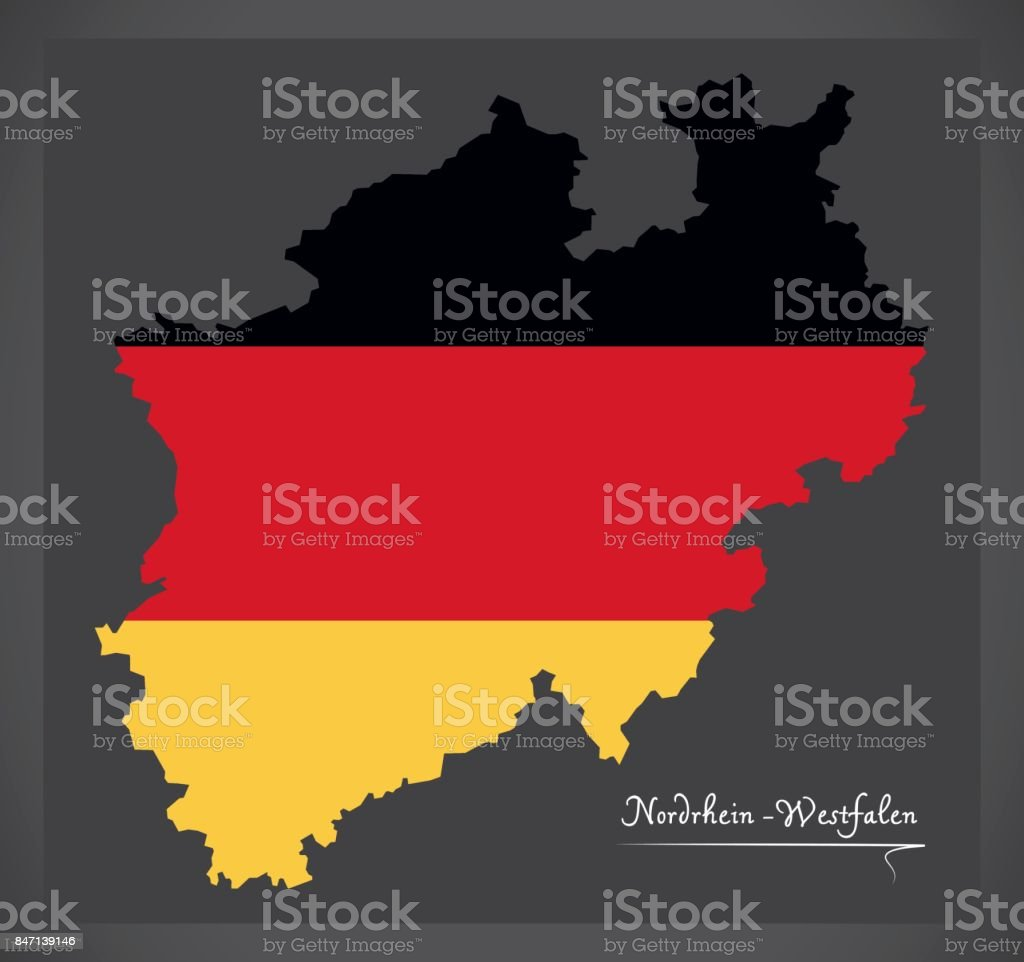 Nordrhein-Westfalen map of Germany with German national flag illustration vector art illustration