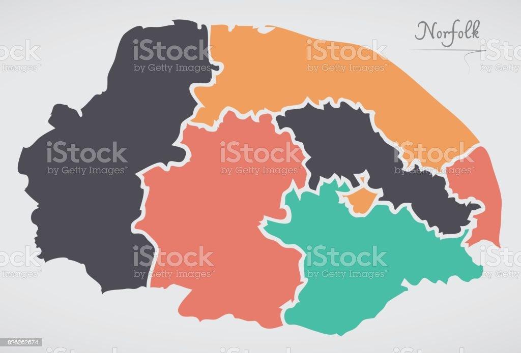 Carte Norfolk Angleterre.Carte Angleterre Norfolk Avec Les Etats Et Les Formes Rondes