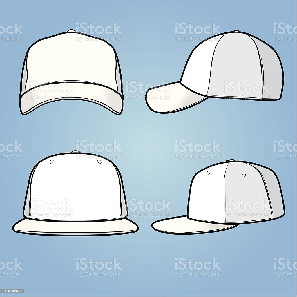 Normal and fitted caps vector art illustration