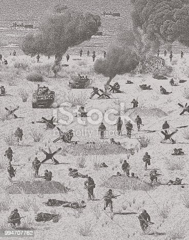 Stipple illustration of the Normandy invasion on Omaha Beach