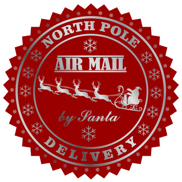 Nort Pole delivery by Santa post stamp Nort Pole delivery by Santa post stamp vector eps 10 north pole stock illustrations