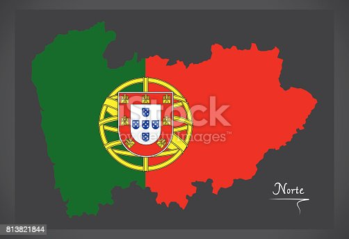 Norte Portugal Map With Portuguese National Flag Illustration - Portugal norte map