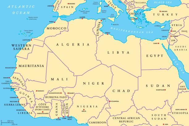 北非國家政治地圖 - 阿爾及利亞 幅插畫檔、美工圖案、卡通及圖標