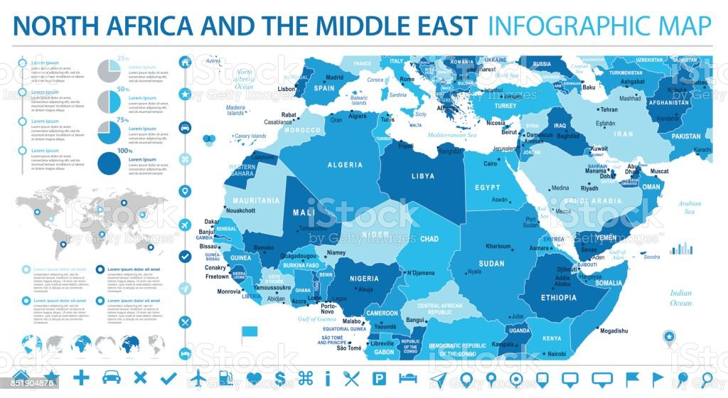 North Africa Map Info Graphic Vector Illustration Stock Vector Art ...