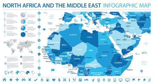 北アフリカ マップ - 情報グラフィック ベクトル図 - 中東の地図点のイラスト素材/クリップアート素材/マンガ素材/アイコン素材