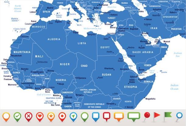 北アフリカの地図 - ベクトル図 - 中東の地図点のイラスト素材/クリップアート素材/マンガ素材/アイコン素材