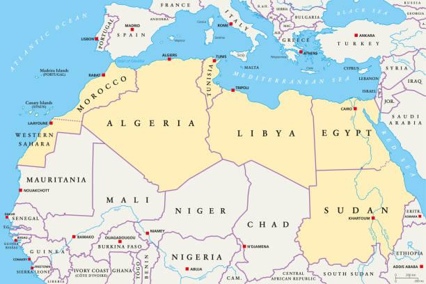 北非區域, 政治地圖 - 阿爾及利亞 幅插畫檔、美工圖案、卡通及圖標