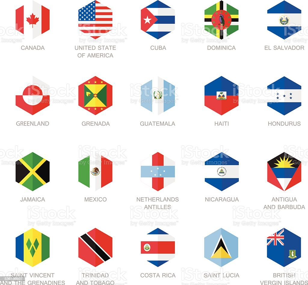 North America and Caribbean Flag Icons. Hexagon Flat Design. vector art illustration