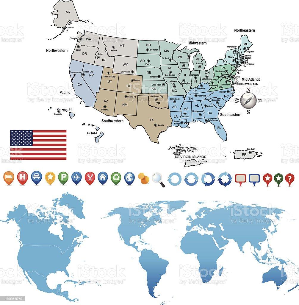 Carte Gps Amerique Du Nord.Amerique Du Nord Et Ouline Carte Du Monde Avec Des Icones De Gps