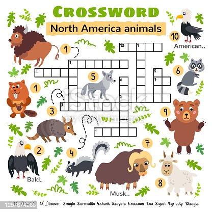 istock North America animals crossword. Game for kids 1257674265