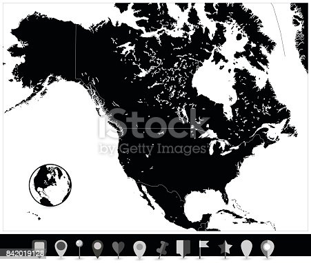 North america black map and flat map pointers stock vector art north america black map and flat map pointers stock vector art more images of canada 842019128 istock gumiabroncs Image collections