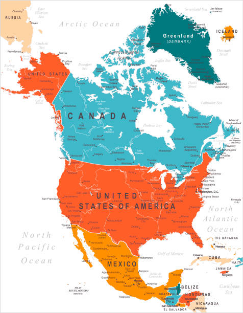 North America Colored Map Vector Map of North America with borders and capitals. Canada, USA, Mexico with cities greenland stock illustrations
