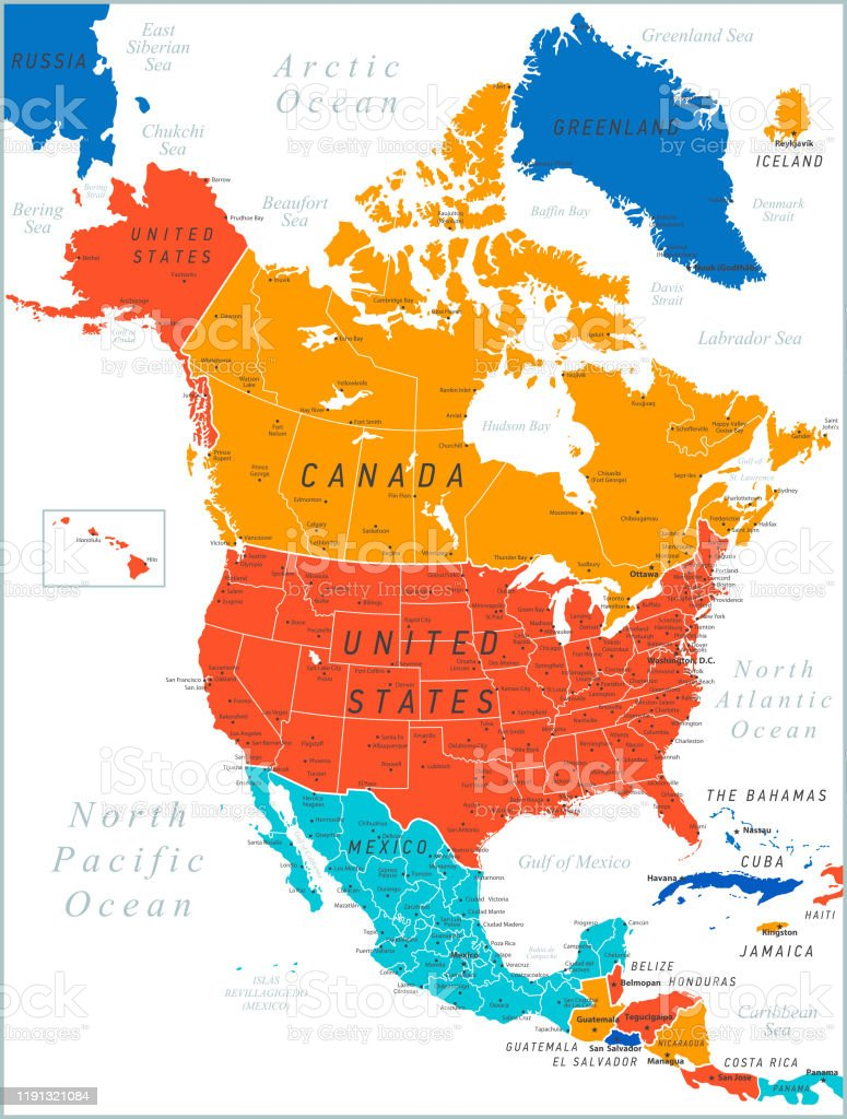 Picture of: North America Colored Map Vector Illustration With United States Canada Mexico And Cuba Stock Illustration Download Image Now Istock