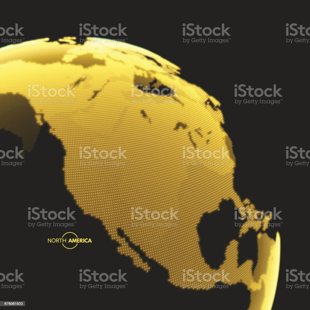 North America. Earth globe. Global business marketing concept. Dotted style. Vector illustration. royalty-free north america earth globe global business marketing concept dotted style vector illustration stock vector art & more images of backgrounds