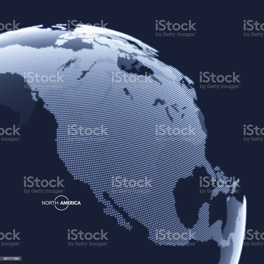 North America. Earth globe. Global business marketing concept. Dotted style. Design for education, science, presentations. vector art illustration