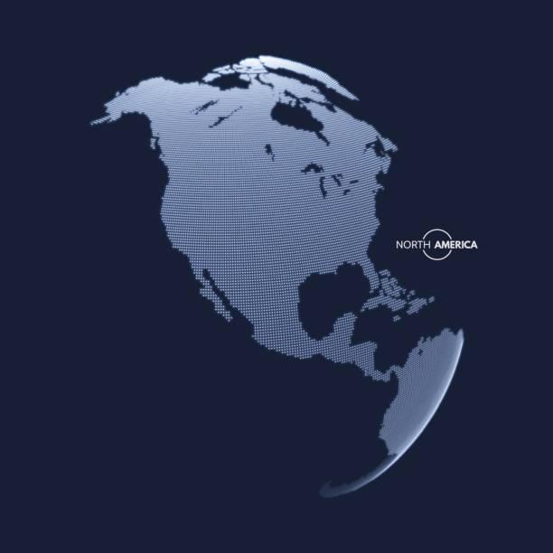 ilustraciones, imágenes clip art, dibujos animados e iconos de stock de norteamérica. globo terráqueo. concepto global de marketing empresarial. - viaje a canadá