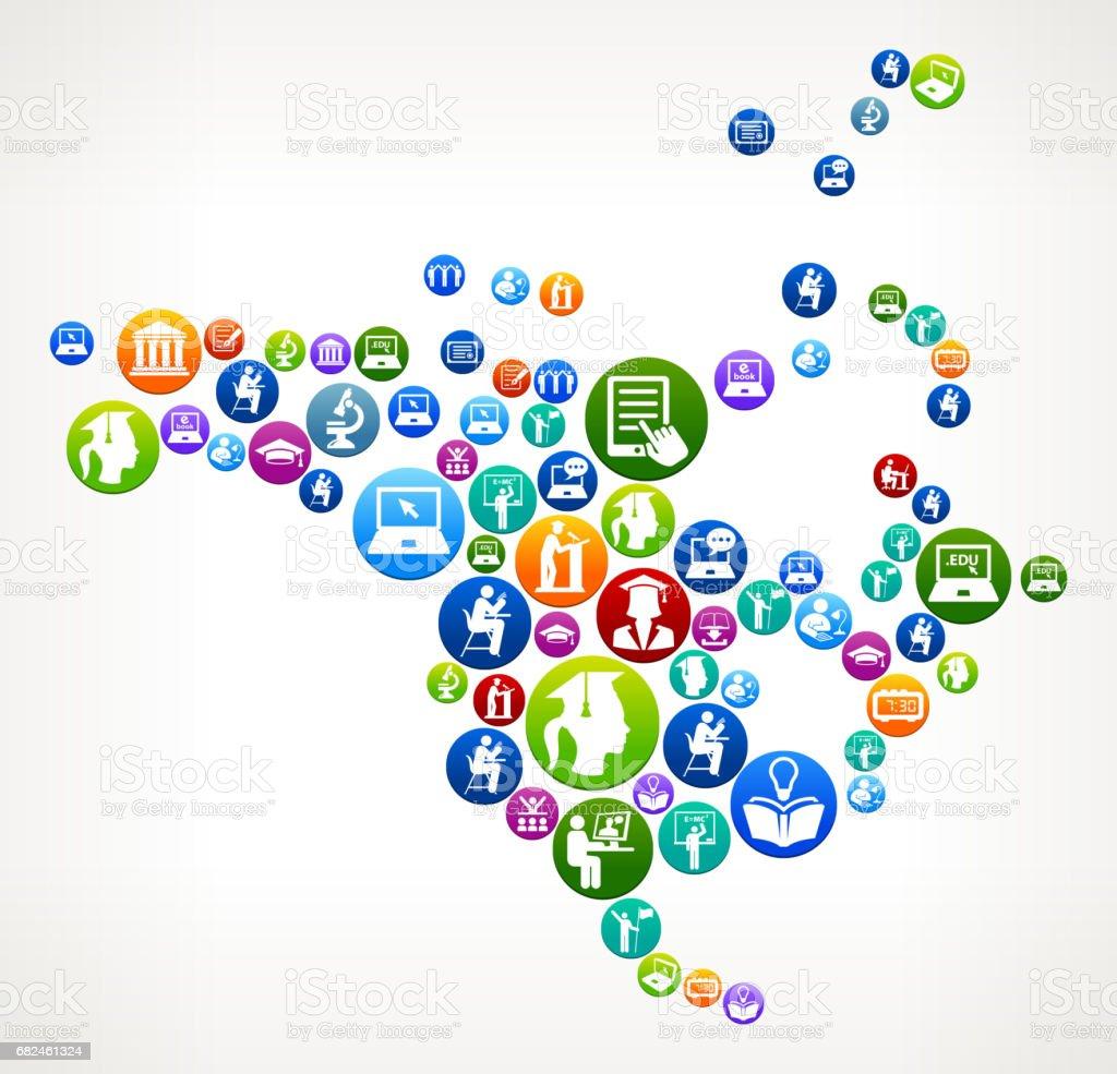 北美電子學習和大學教育向量按鈕模式 免版稅 北美電子學習和大學教育向量按鈕模式 向量插圖及更多 20歲到24歲 圖片