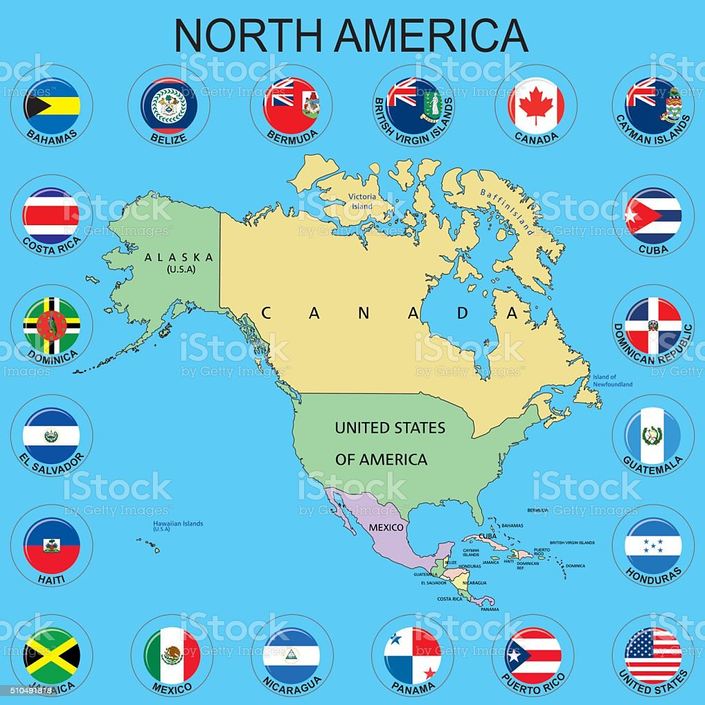 North america flags around the maps stock vector art more images north america flags around the maps royalty free north america flags around the maps publicscrutiny Images