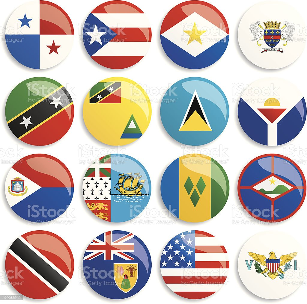 North America flags buttons royalty-free stock vector art