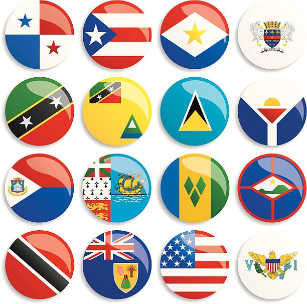 bildbanksillustrationer, clip art samt tecknat material och ikoner med north america flags buttons - saint lucia