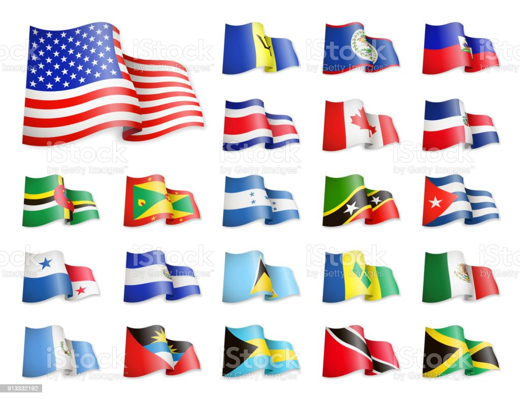 North America Flags Collection Waving Flags Stock Vector Art - north flags