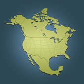 North America green map on dark blue background. Good for your presentations, websites and for printing.