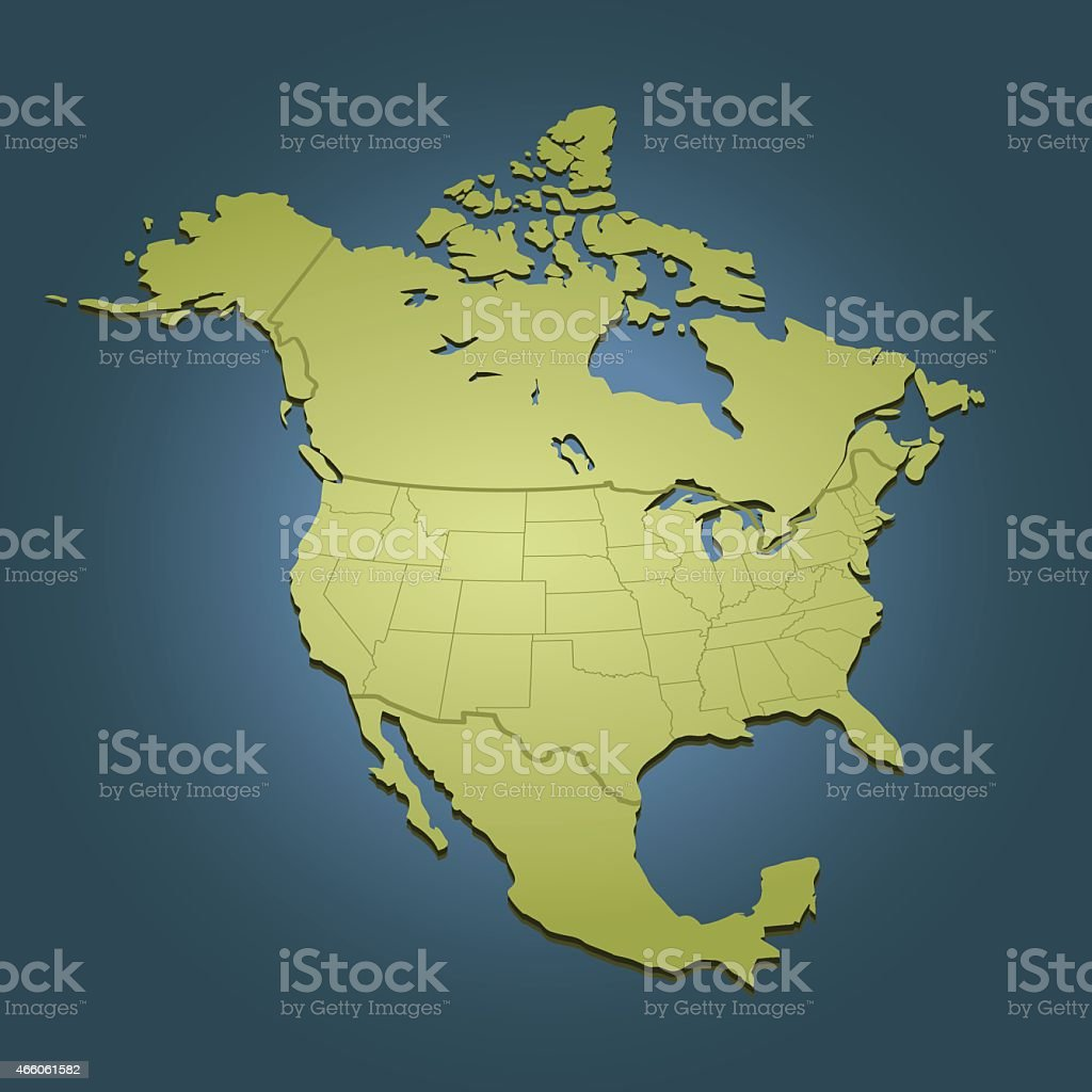 North America green map on dark background in perspective view vector art illustration