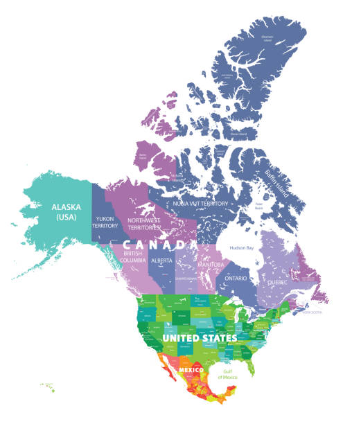 North America high detailed vector map with states borders of Canada, USA and Mexico. All elements separated in detachable layers North America high detailed vector map with states borders of Canada, USA and Mexico. All elements separated in detachable layers british columbia stock illustrations