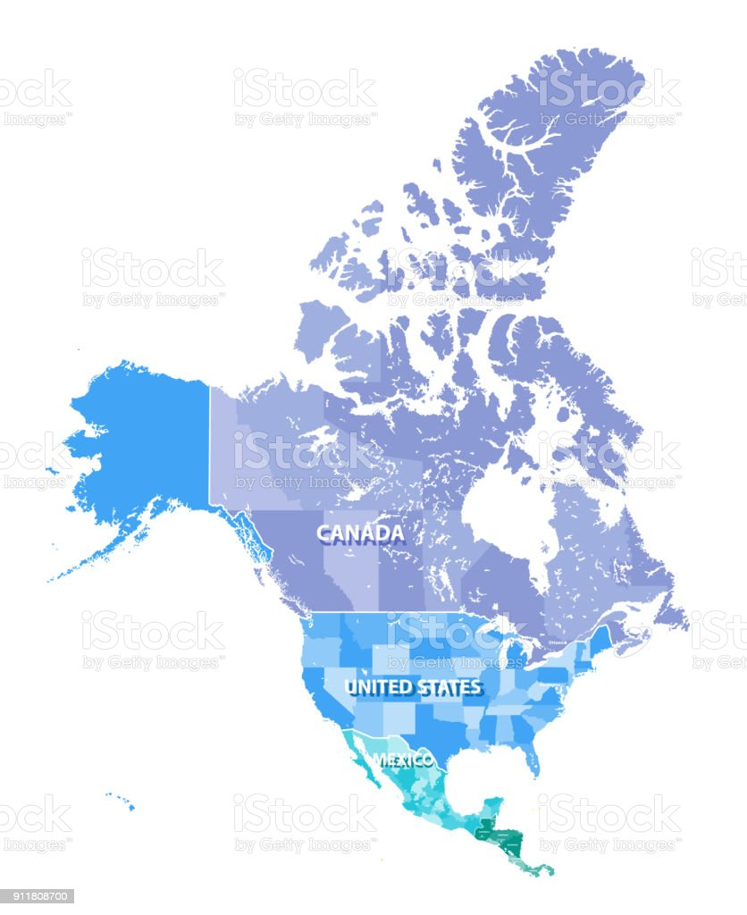 North America High Detailed Vector Map With States Borders Of Canada Usa  And Mexico All Elements Separated In Detachable Layers Stock Illustration -  ...