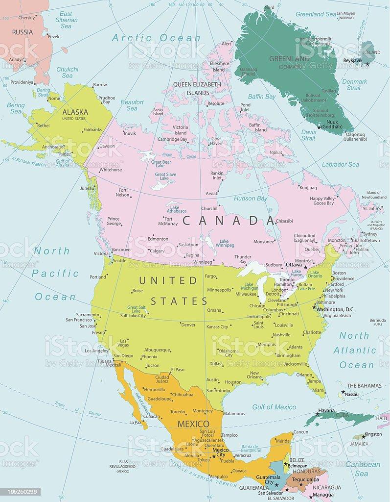 Cartina Politica America Settentrionale.Nord America Mappa Politica Highly Dettagliata Immagini