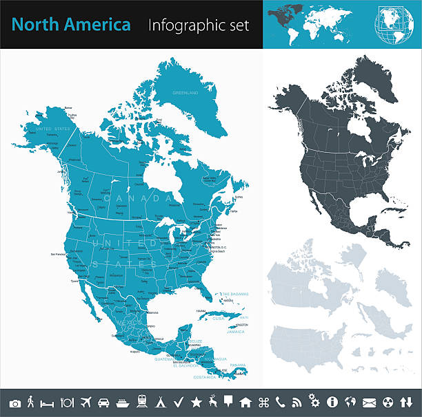 north america - infographic map - illustration - north america maps stock illustrations, clip art, cartoons, & icons