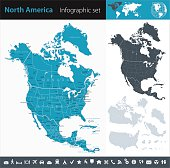 North America - Infographic map - illustration