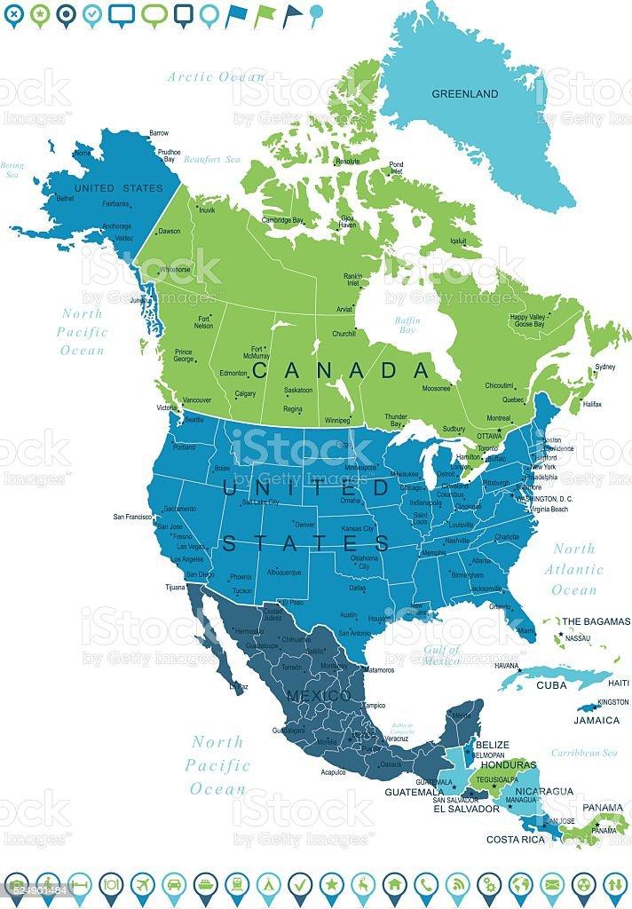 Karte Nordamerikas.Nordamerika Karte Und Navigation Symbole Stock Vektor Art Und Mehr