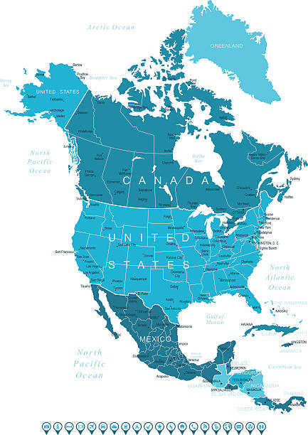 Best North America Topographic Map Illustrations, Royalty ...
