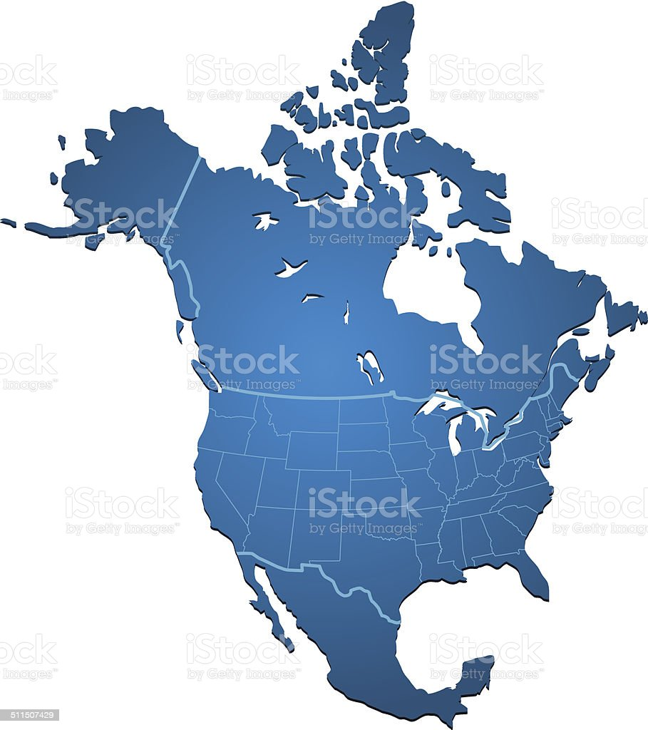 North America Map blue vector art illustration