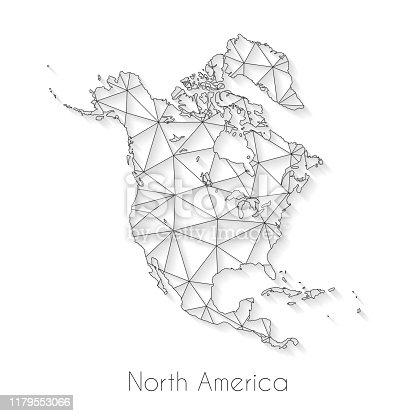 North America map created with a mesh of thin black lines and a light shadow, isolated on a blank background. Conceptual illustration of networks (communication, social, internet, ...). Vector Illustration (EPS10, well layered and grouped). Easy to edit, manipulate, resize or colorize.