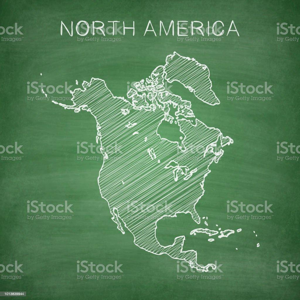 North America Map Drawn On Chalkboard Blackboard Stock Vector Art ...