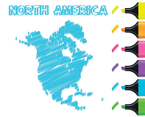 North America map hand drawn on white background, blue highlighter Map of North America drawn with blue highlighter, isolated on a blank background. Easily change color : yellow, orange, pink, purple, blue, green. drawing of a haiti map stock illustrations