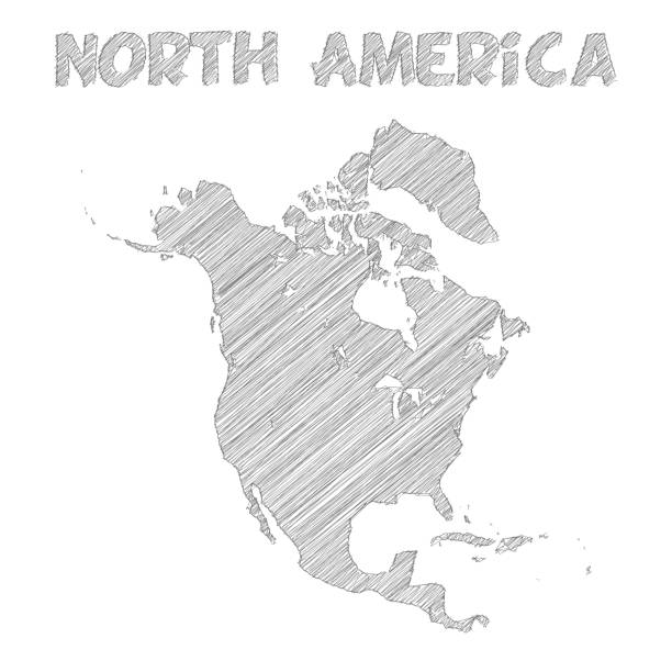 North America map hand drawn on white background Map of North America sketched, isolated on a blank background. drawing of a haiti map stock illustrations