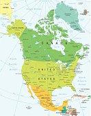 North America - map - illustration