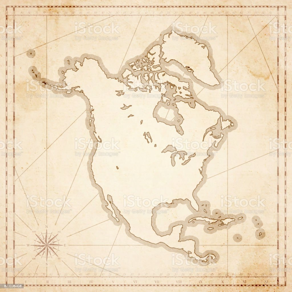 North America Map In Retro Vintage Style Old Textured Paper